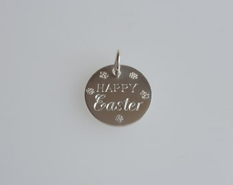 Happy Easter Round Pendant Charm in .925 Sterling Silver