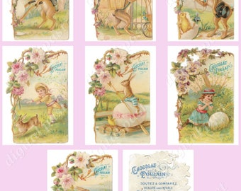 """Easter Collage Sheet instant download - Vintage French Chocolates """"Chocolat Poulain"""" - 7 antique die cut advertising cards, ACEO ATC cards"""