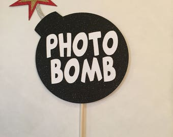 Glittered Photobomb Photo Booth Prop