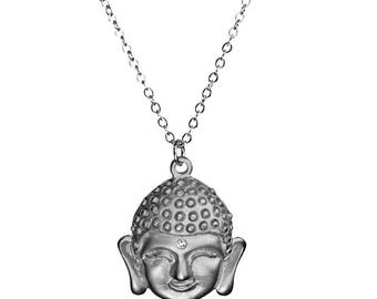 Sparkle Buddha Silver Necklace