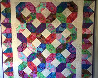 Kaffe Kisses Hugs Quilt, Quilts for Sale, Handmade Quilts, Homemade Quilts, Bright Quilts, Quilts for Gifts