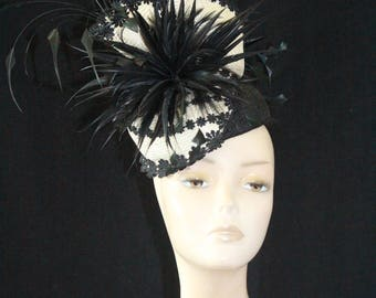 Cream and Black Fascinator