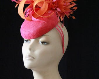 Orange and Pink Fascinator