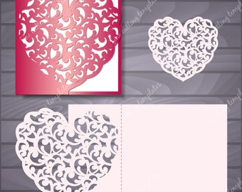 Wedding or Valentine Luxury Card Template for cutting (svg, dxf, ai, eps, png, pdf, studio3). Invitation, Menu mokup. Instant Download