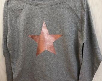 Star Sweatshirt, Women's Slouchy Sweatshirt, Star Jumper, Grey Sweatshirt, Neon Sweatshirt, Star in Neon, Metallic or Glitter