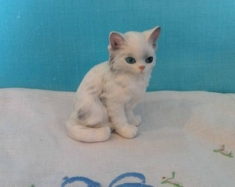 Vintage Lefton White Long Haired Cat Figurine, stickered and numbered, collectable