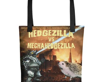 Hedgehog Tote Bag - Hedgzilla Battle For Tokyo - Hedgzillia Cutest Kaija - Funny Hedgehog Gift - Hedgehog vs Godzilla Movie Poster Art