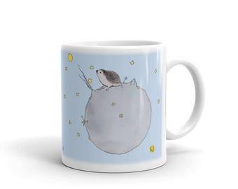The Little Hedgehog Prince (Or Princess) Hand Drawn Mug A Pricklepats Original by Urchin Wear Sweet Hedgehog Mug