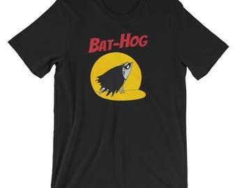 Hedgehog Shirt: Bat-Hog Superhero T-Shirt - Cute Funny Hedgehog Gift - Short-Sleeve Unisex Hedgehog T-Shirt of Power by Urchin Wear