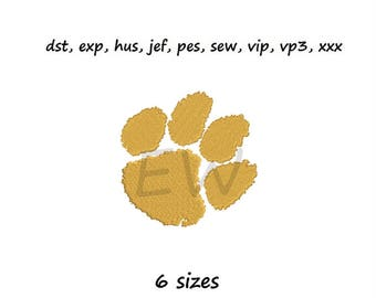 Embroidery design - Clemson tiger paw - instant DOWNLOAD digital file for embroidery machines