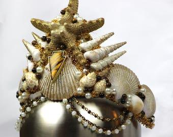 Brown/Gold Mermaid Crown