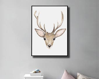 Deer Print, Deer Nursery Print, Deer Antlers, Watercolor Deer, Deer Head poster, Woodland Nursery, Printable Baby Deer, Deer Wall Art