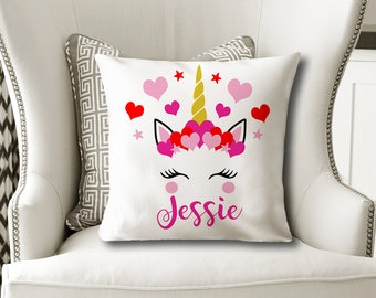 Valentine Unicorn PILLOW, Girl Name Pillow, Valentine Gift for Her, Unicorn Valentine Decor, Unicorn Lover, Pillow Cover or With Insert