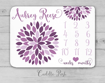Baby Girl Milestone Blanket, Purple Nursery Decor, Floral Newborn Photography Backdrop, Month Growth Chart, Personalized Girl Shower Gift