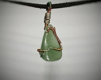 Green Aventurine Pendant - Wire Wrapped Jewelry - Polished Green Stone Necklace - Small Handmade Necklace