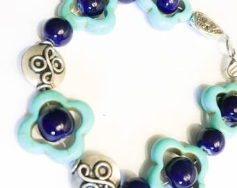 Turquoise and Navy Silver Wire Bracelet
