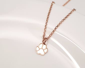 21k Rose Gold Paw Print Necklace, Paw Necklace, Animal Lover Gift, Dog Lover Necklace, Cat Lover Gift, PawPrint Jewellery, Pawprint Necklace