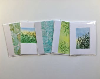 SALE! Set of 5 blank cards, individually made, not reproductions: A2, SKU BLA2SET9