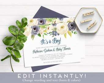 Oh Boy Baby Shower Invitation Blue Boho Floral Watercolor, Baby Boy Shower Invite, Editable Baby Shower Template, Templett Instant Download