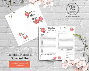 Standard Travelers Notebook Insert, Daily Planner Printable, Day on 2 Pages, 2 Pages Daily Planner, TN Insert Printed, Daily Planner Page