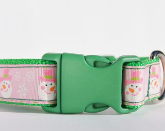 1 Inch Pink and Green Snowman Dog Collar Medium or Large Plastic or Nickel Buckle Options
