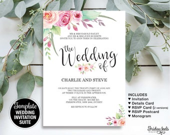 Bohemian Chic Wedding Invitation Suite Template, Watercolor Floral Invitation, Editable Template, Printable Instant Download PDF, W03