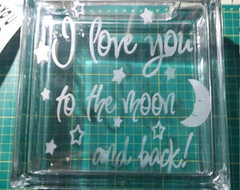 Sandblasted Glass Block  CUSTOM MADE & DESIGN or Pick your Own