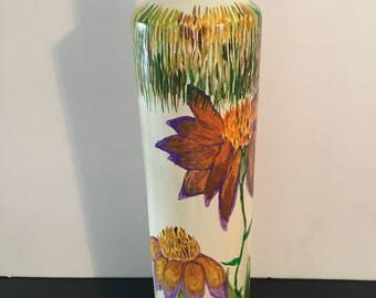 Hand pained floral glassf bottle