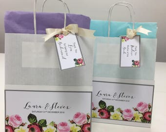Personalised Wedding Vintage flowers Gift Bags