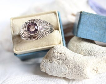 Vintage Amethyst Sterling Silver Ring, Modernist Handcrafted Ring, Vintage Ring, Band Ring