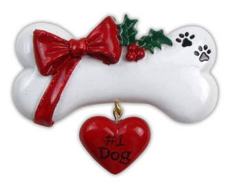 Dog Bone with Bow Personalized Tree Ornament