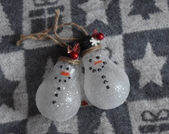 Glitter Lightbulb Snowman Ornament