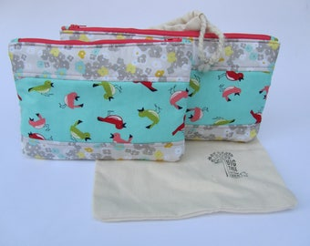 Quilted Zipper Pouch Set Pink Birds