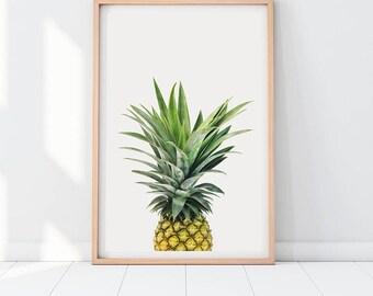 Pineapple Print, Foodie Gift, Modern Kitchen Art, Gourmet Gift for Chef, Kitchen Wall Art, Kitchen Decor, Vegetarian Gift, Fruit Art