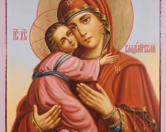 Icon Theotokos Vladimirskaya, Vladimir Icon of the Mother of God, Russian Orthodox handpainted icon, Lady of Vladimir