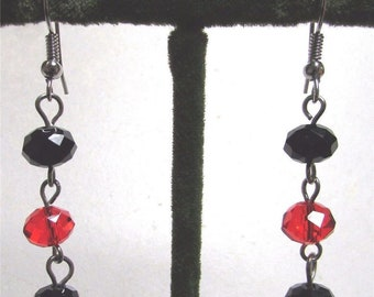 1970's Long Glass Crystal AB Bead Dangle Earrings Red Black