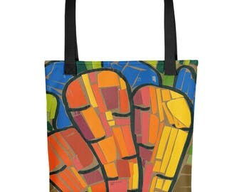 Carrots Mosaic - Amazingly beautiful full color tote bag with black handle featuring children's donated artwork.
