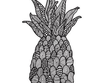 pineapple drawing. pineapple drawing print