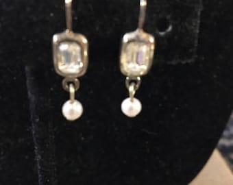 Vintage Crystal and Pearl Pierced Drop Earrings