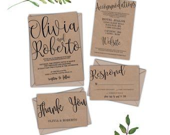 Charmant Kraft Wedding Invitation Template, Kraft Wedding Invitation Set,Kraft Paper  Wedding Invitation, Kraft