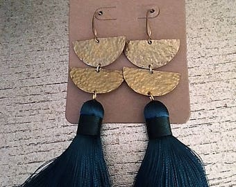 Silk Tassel Earrings Hammered Metal Brass Teal