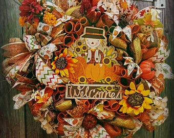 Fall Wreath, Autumn Wreath,Fall Best Door Wreath Door Decor Fall Deco Mesh Wreath, Fall Decor, Fall Door Decoration,  Fall wreath front door