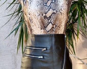 90's beige top, brown snake print, sleeveless, scoop neck, vintage, designer