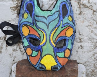 crazy coyote animal mask creepy cool handmade hand painted wearable art adult child wall hanging trickster pagan native american shaman