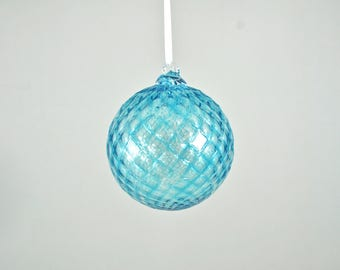 Hand Blown Glass Ornament: Aquamarine Christmas Ornament (Jewel Collection)