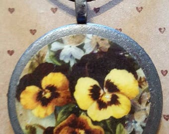 Vintage Pansy Illustration Necklace - Handmade - FREE SHIPPING