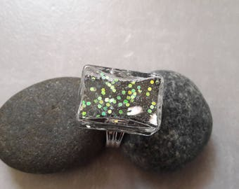 GLASS ring with glitter