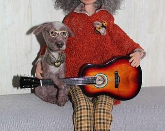 Musician guy with guitar - Christian, ooak, art doll, polymer clay doll, handmade doll, livingdoll
