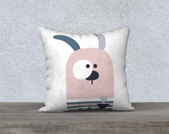 "Decorative pillow cover ""flouflou R"" pink dog, pillow for kids, nursery illustration, pink, blue, white, gray, cushion, pillows"
