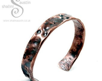Unisex Copper Cuff 'Fancy'   One Off Hand-Crafted Air-Chased Copper Jewellery made from Copper Pipe